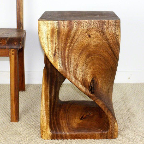Strata Furniture Sustainable Monkey Pod Wood Twist End Table With