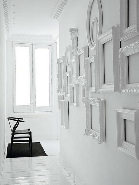 Photo frame feature wall great juxtaposition of frames! love! | home ...