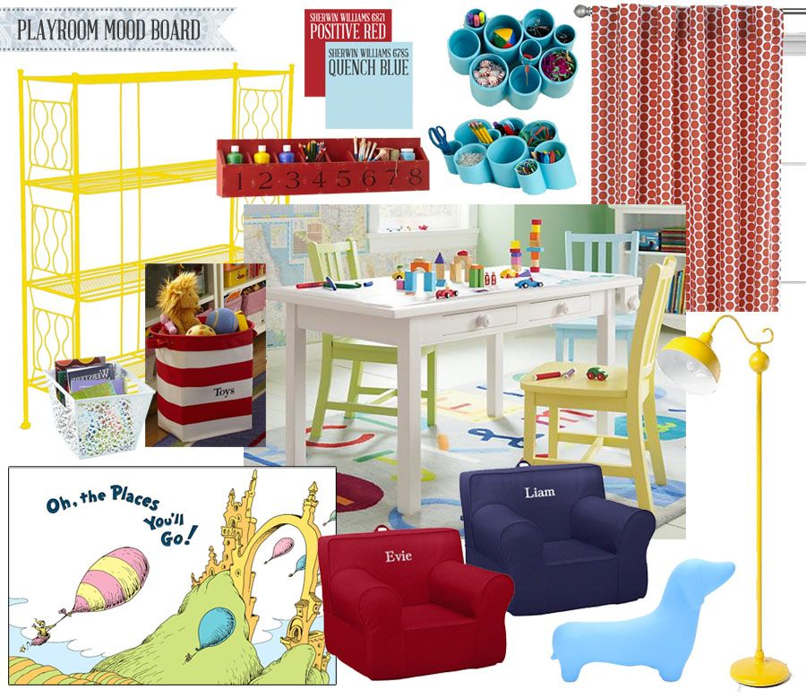 Colorful Playroom Design: Cubby Shelves, Colorful Playroom