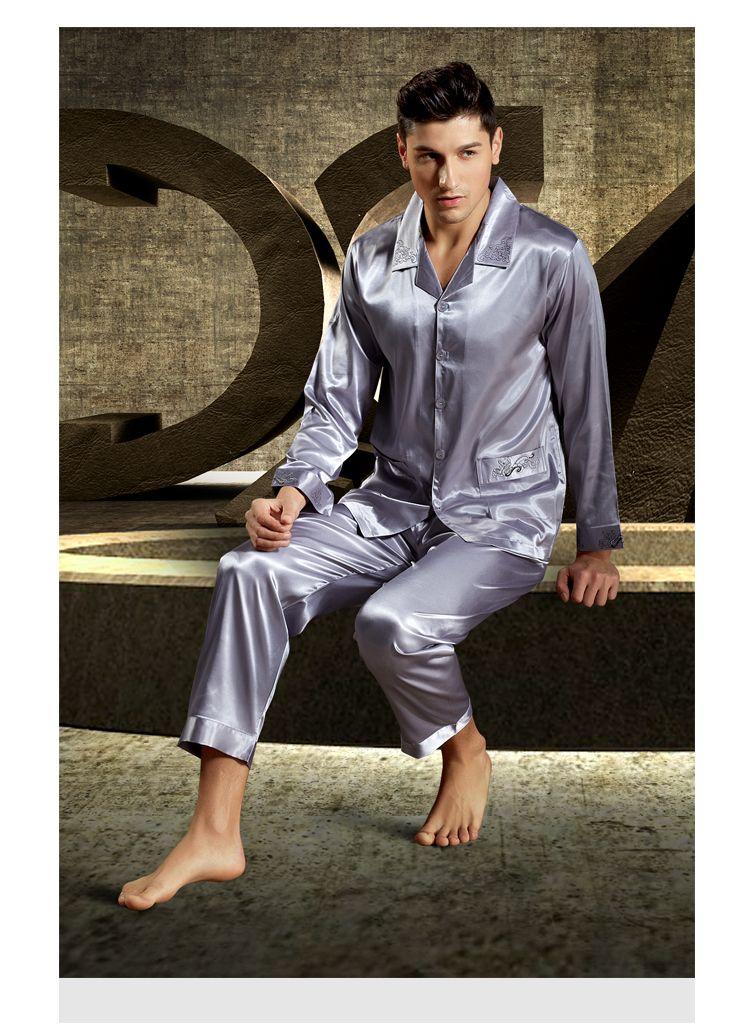 Mens Satin Silk Pyjama Lounge Casual Pajamas Sets Sleepwear Nightwear Tops Pants