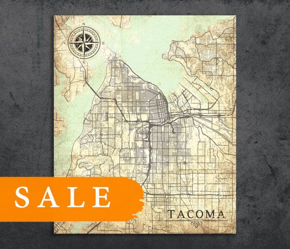 FREE Shipping TACOMA WA Free Shipping Canvas Print Washington Wa - Us tacoma map