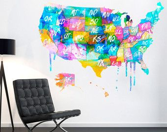 World Map Outlines Wall Decal Continents Decal Large World - Watercolor us map
