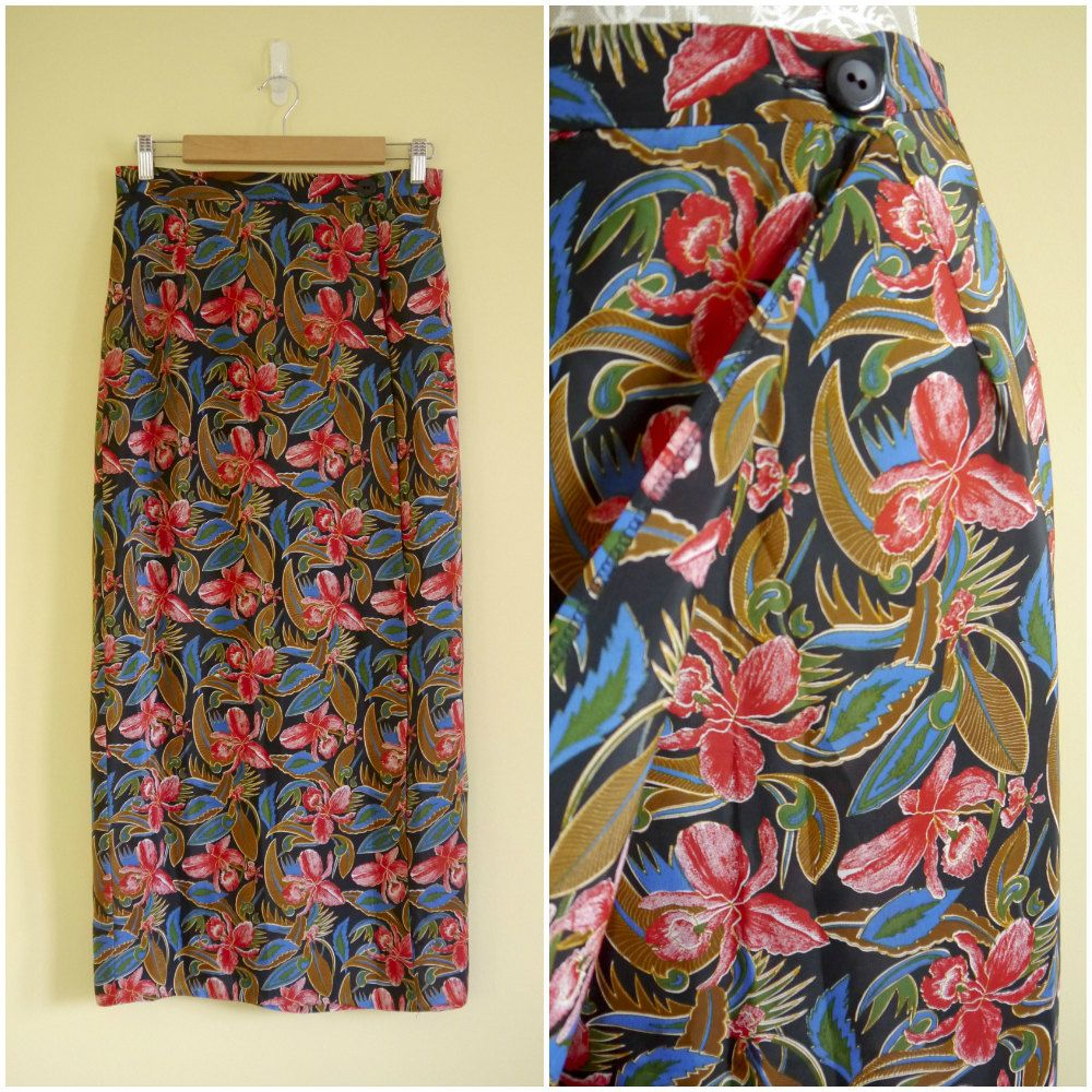 262763db8c Vintage 70s Maxi Skirt Tropical Print Maxi Wrap Skirt by Venelle ...