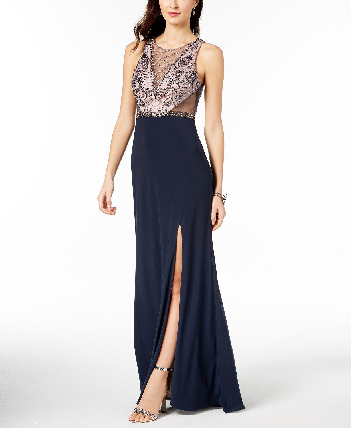 Betsy adam beaded illusion gown prom