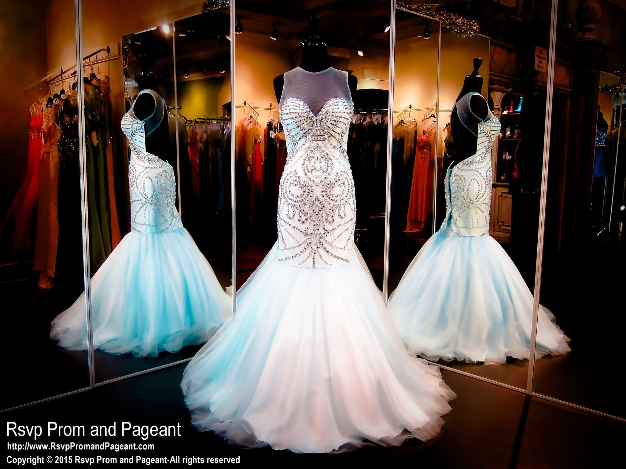 Powder Blue Beaded Mermaid Prom Pageant Dress High Illusion Neckline Open Back 115ra028200 At Rsvp Pro Prom Pageant Dress Pageant Dresses Stunning Prom Dresses