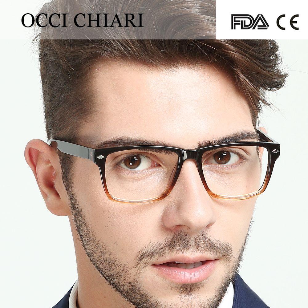 020dbc1bf425 2018 High Quality Glasses Fashion Mens Acetate Eyewear Frame HandMade  Square Frame Spring Hinge Prescription Glasses W-COLORI