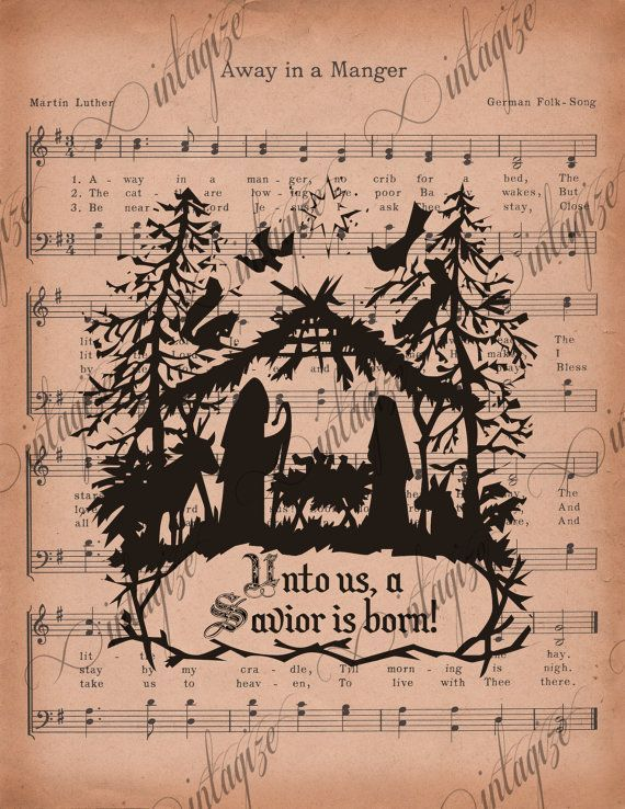 Christmas Printable Religious Rustic Primitive Nativity on Away in a Manger Sheet Music - Original INSTANT DIGITAL DOWNLOAD
