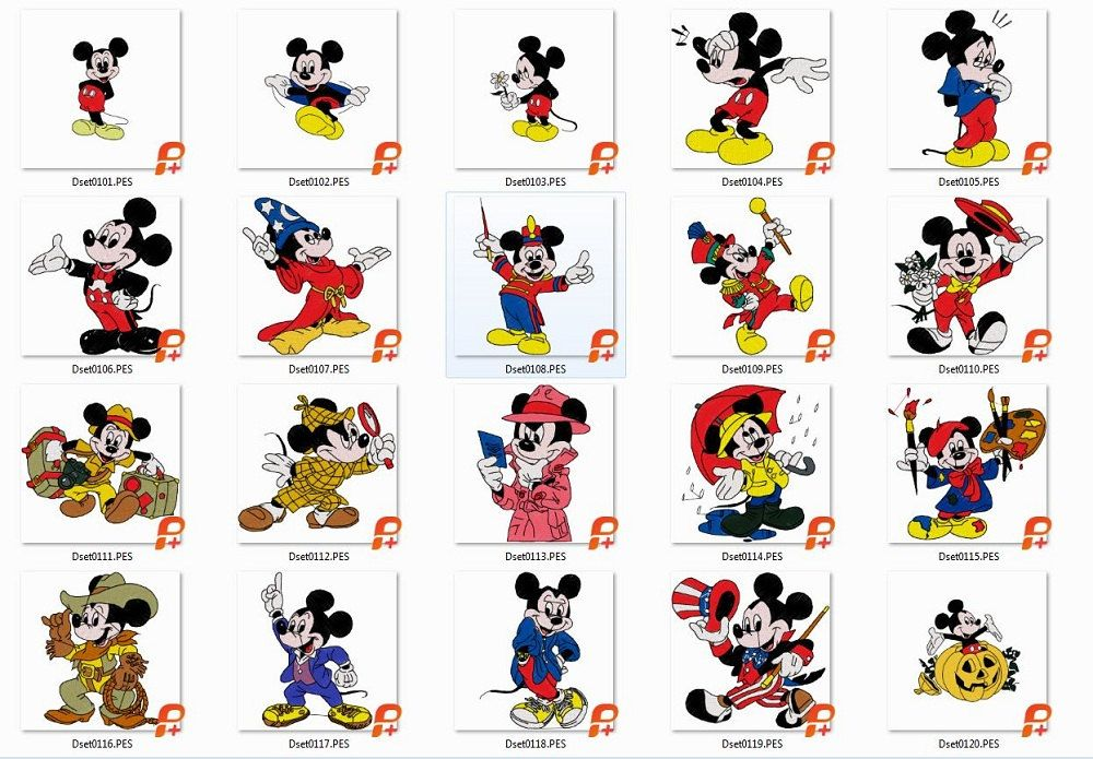 20 Micky Mouse Embroidery Designs, Brother Ds 01 Micky