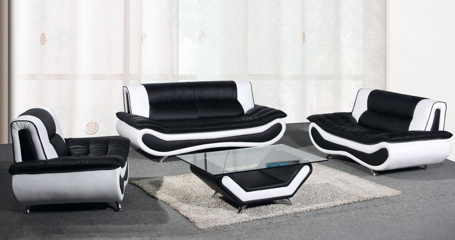 Nice Modern Black And White Leather Sofa Set Fancy Modern Black