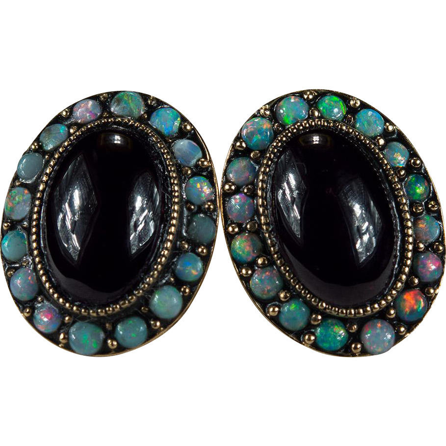 Natural Black Opal Garnet Stud Earrings 14k Gold Studs