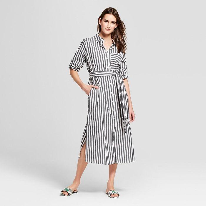 7198a6e01e9 Who What Wear Floral Print Long Sleeve Midi Shirt Dress