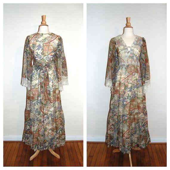70s Gunne Sax Dress . Vintage Long Sleeve by MerakiVintageShop