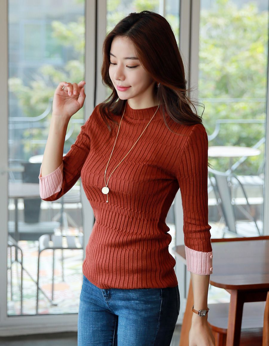 Color Cuff Ribbed Knit Tee