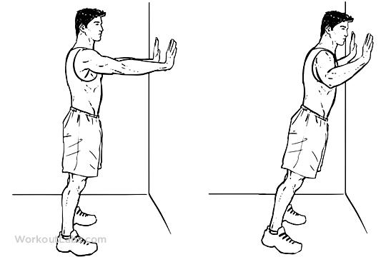 Wall Push-Ups / Pushups / Standing Press Ups | Workout guide, Push up