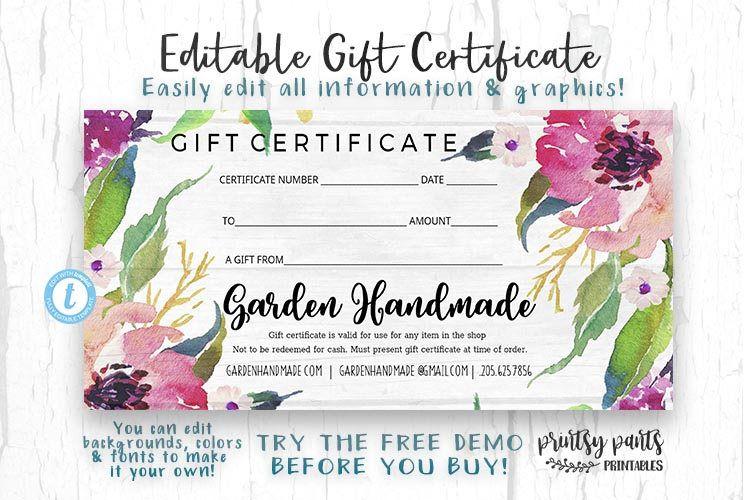 Editable Gift Certificate Garden Voucher Printable Gift Cert Gift Certificate Instant Download Business Templates Shop Voucheruhh Printable Gift Gift Certificate Template Gift Certificates