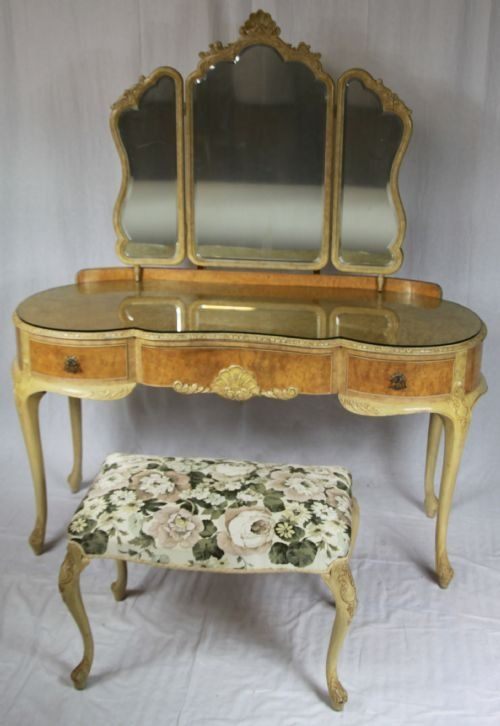 Antique Dressing Table 1930 S And Stool Walnut Kidney