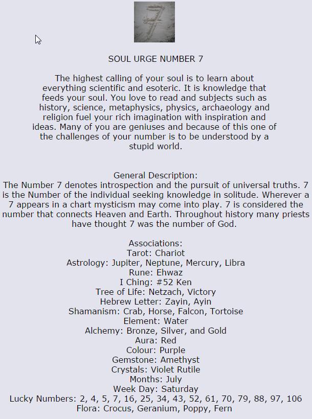 Soul Urge number 7 | Stars Aligned & Created Her