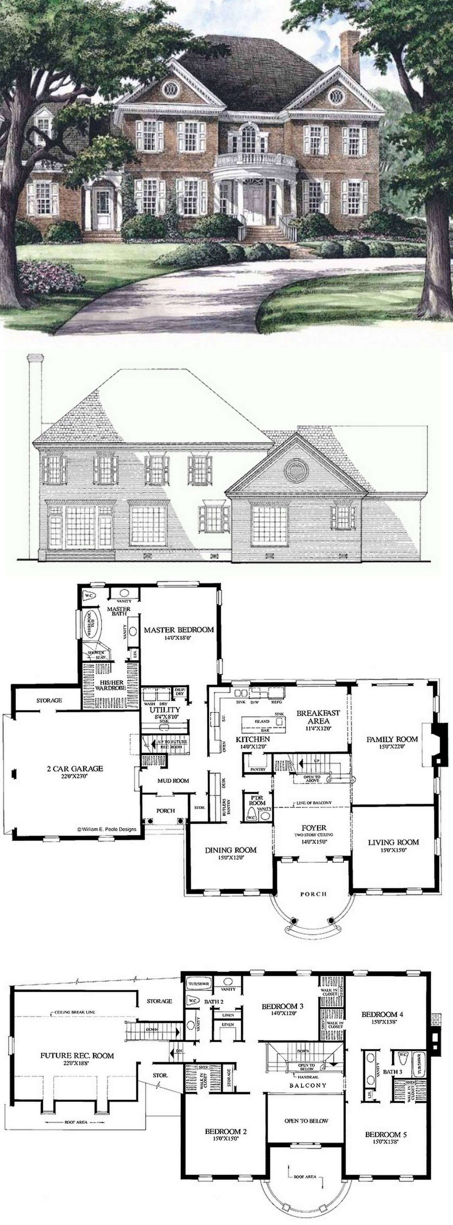 Southern Style House Plan 5 Beds 3 5 Baths 3951 Sq Ft Plan 137 139 Sims House Plans Georgian Homes House Plans