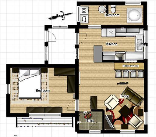 One Bedroom House Floor Plans Put The Bathroom Where The