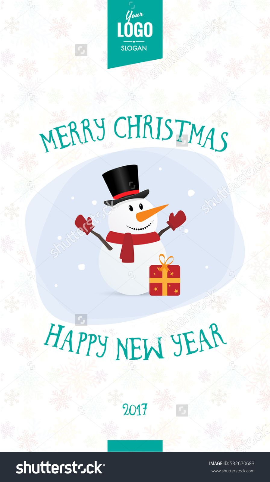 Merry Christmas And Happy New Year Corporate Greeting Card Snowman