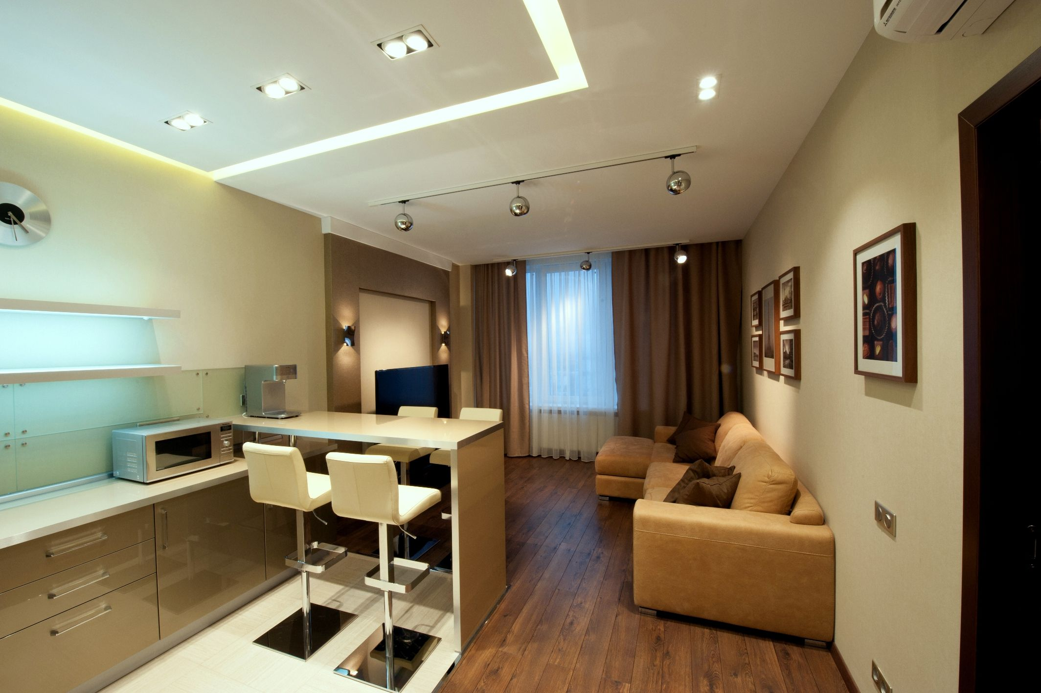 Bronze Sunset Apartment Interior In Modern Style Zoning Of Living  # Saverio Muebles