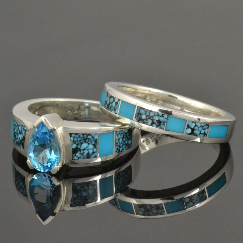 hileman silver jewelry offers handmade turquoise jewelry including turquoise engagement rings turquoise wedding rings and - Turquoise Wedding Rings