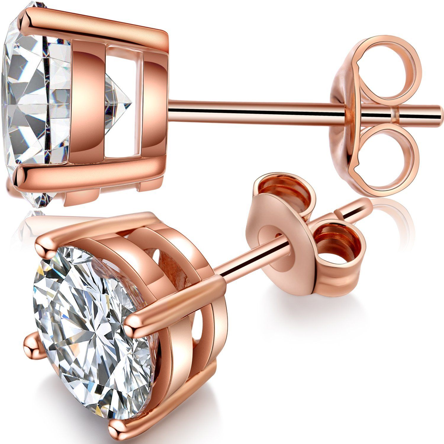 dd1510661 Han han 925 Sterling Silver Round Cut Cubic Zirconia Gem Stud Earrings with  Rose Gold Plated