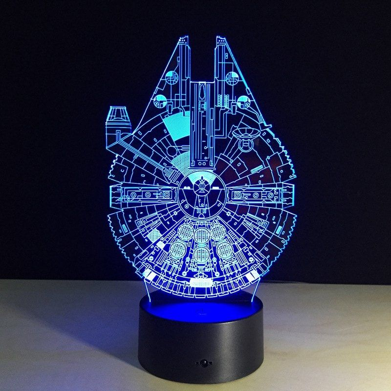 Yeduo New 3d Battleship Spacecraft Led Illusion Mood Lamp Bedroom Table Lamp Night Light Bulbing Child Kids Friends Man Family Gifts Table Lamps For Bedroom Mood Lamps Bedroom Lamps