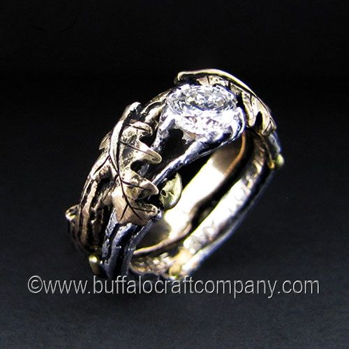 The Burchfield Nature Inspired Wedding Ring Set White Gold Engagement With Green Buds Br G Center Diamond Yellow Band Oak