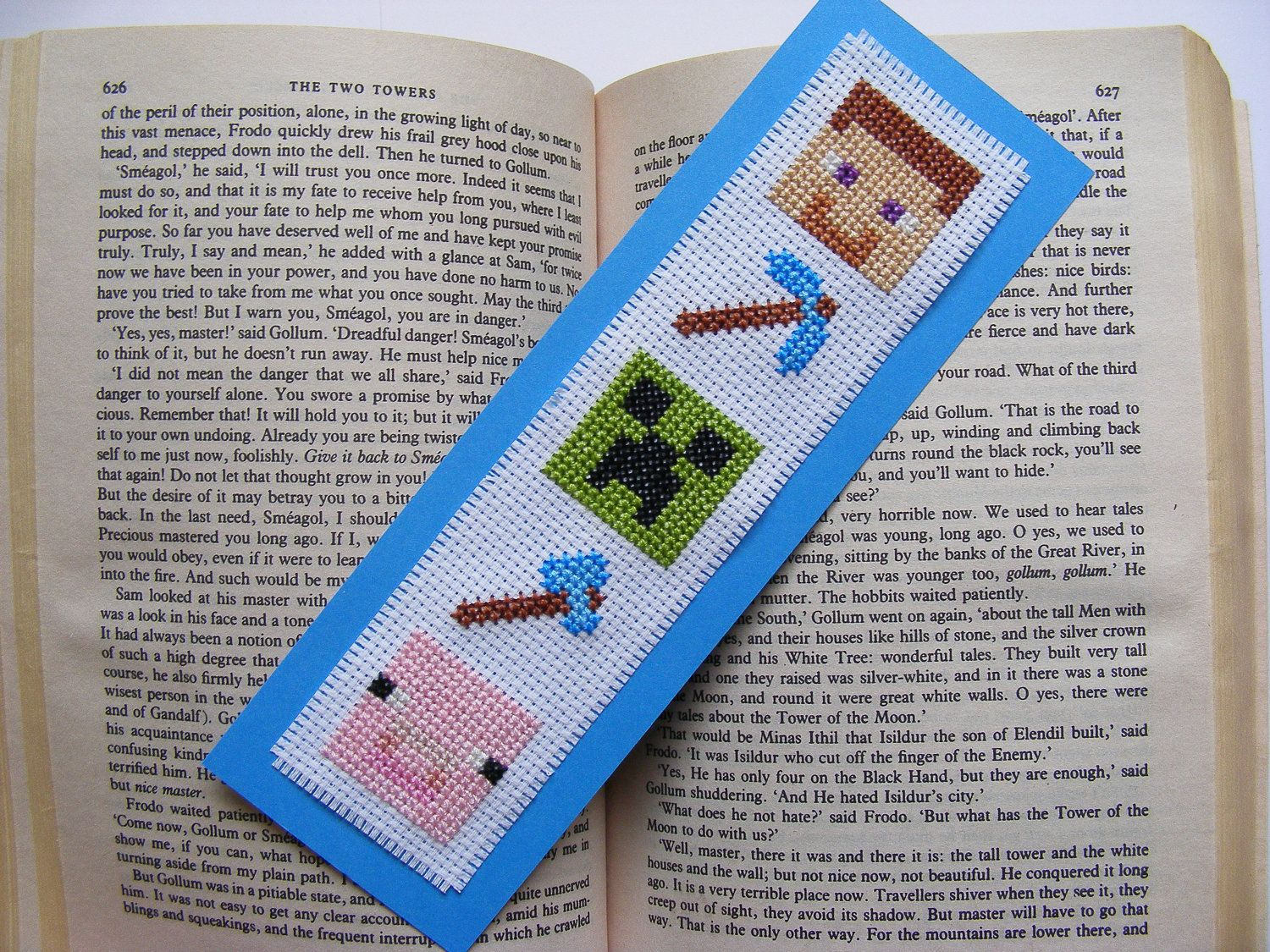 Minecraft Character Cross Stitch Bookmark. £4.25, Via Etsy.