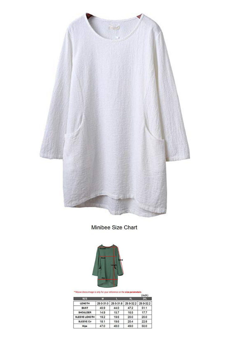 a6a18c8f8e4df8 Minibee Women s Cotton Linen 4 5 Sleeve