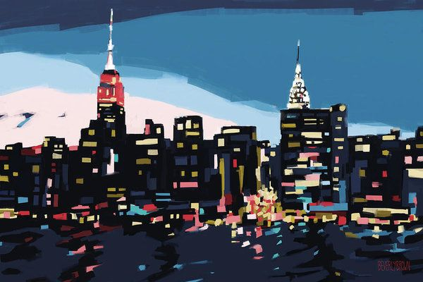 New York Skyline Print featuring the painting New York Skyline At Dusk In Navy Blue Teal And Pink by Beverly Brown Prints