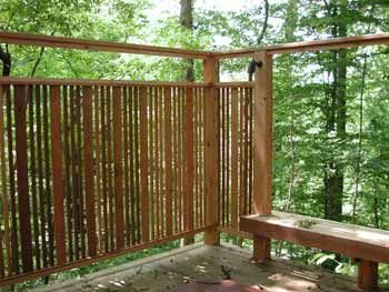 Good hot tub privacy screen idea i can hang the bamboo for Hanging bamboo privacy screen