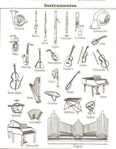 Instrumentos musicales para colorear   Maestro   Pinterest   Musica ...
