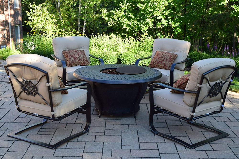 Amazon.com : CC Outdoor Living 5-Piece Round Cast Aluminum ... on Cc Outdoor Living id=85364