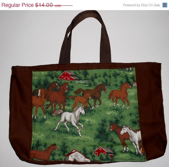 Buy ON SALE through Aug. 27. Small Horse tote bag, Horse totes, Brown tote with horse pocket on side, brown webbing handle drops 6.5 inches,  16.5 in. X 10.75 in by beckyspillowshop. Explore more products on http://beckyspillowshop.etsy.com