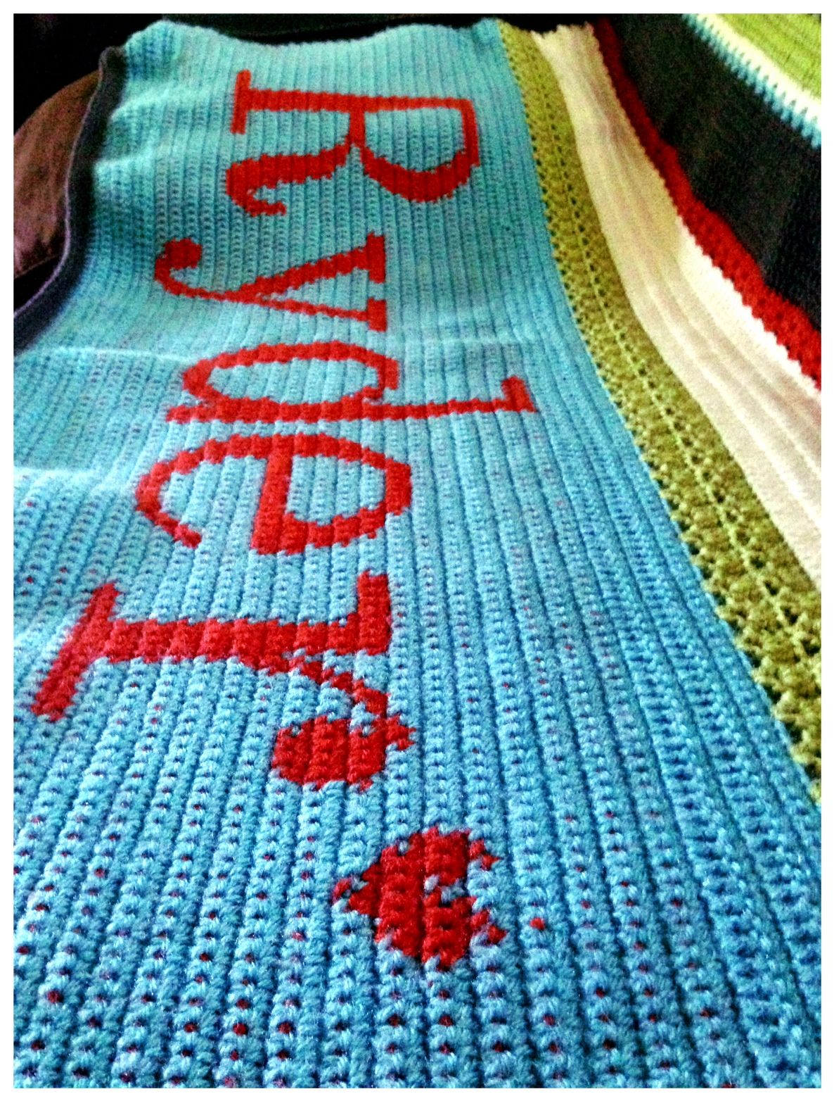 boy baby blanket crochet patterns with name | Using a US H8/5.0mm hook I crocheted the blanket using Lion Brand Yarn ...