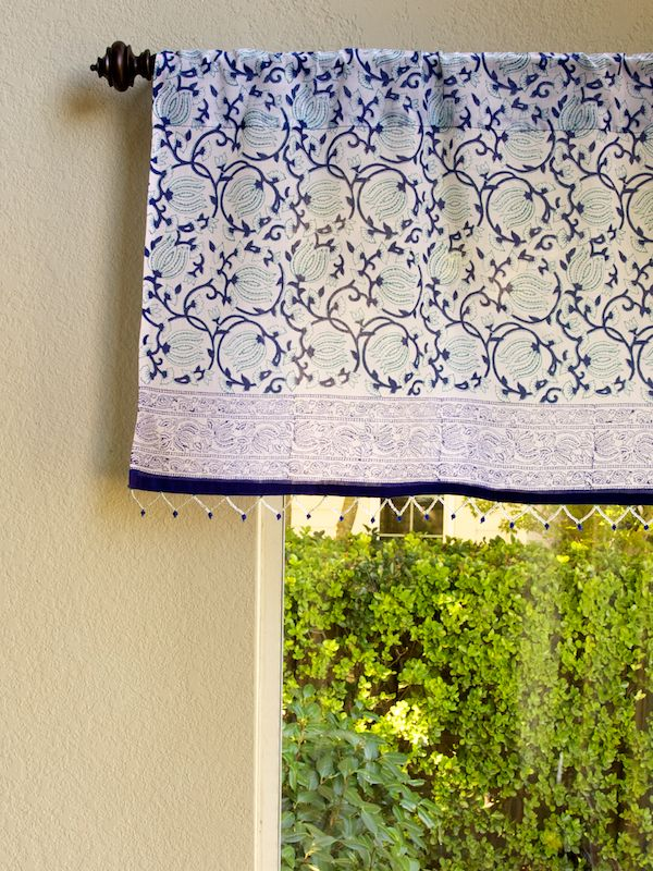 midnight lotus c blue beaded window valance curtain treatment