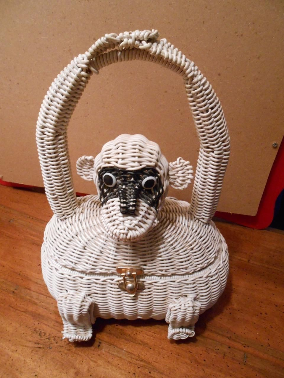 Vintage Wicker Monkey Purse. Marcus Brothers 1960s