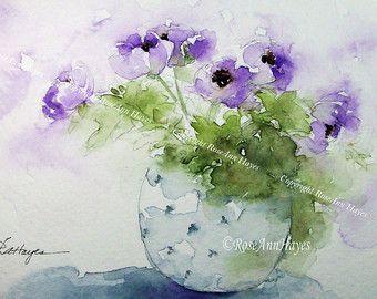 Purple Flowers In Blue Vase Print Of Watercolor RoseAnnHayes