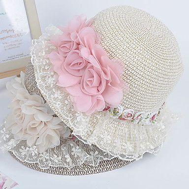 laço decorado flor afiado chapéu de palha – BRL R$ 28,84