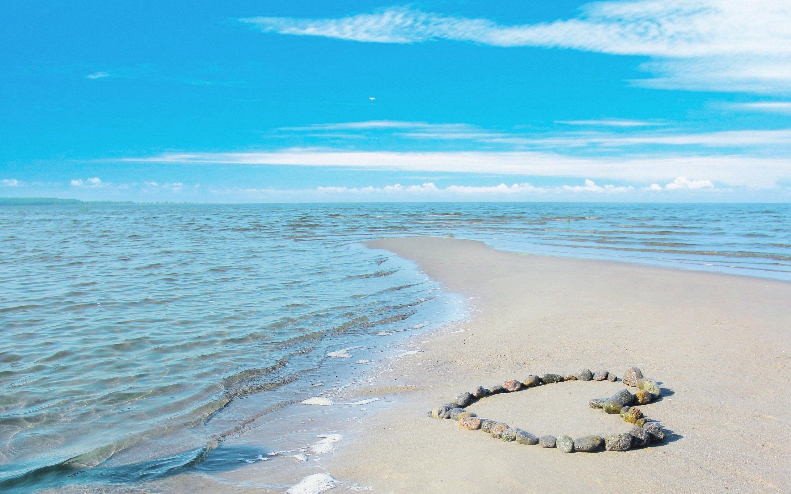 I Heart The Beach Ocean Sea Sand Waves Sunshine Summer Love Landscape Beach Sky Sea