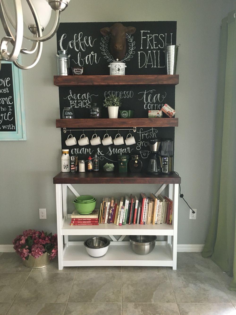 Coffee bar and cookbook nook Iç tasarım, Ahşap palet, Dekor