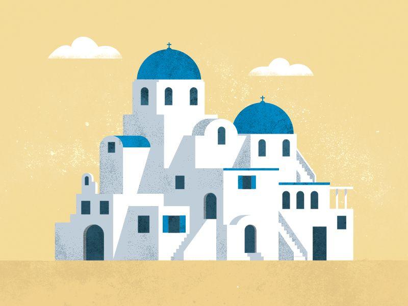 Greece Holidays Illustration Editorial Illustration Greece Holiday