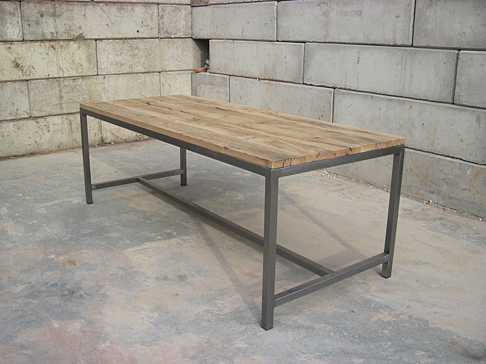 Wood Steel Table By Jan Van Ijken Oudebouwmaterialennl For The - Stain steel table
