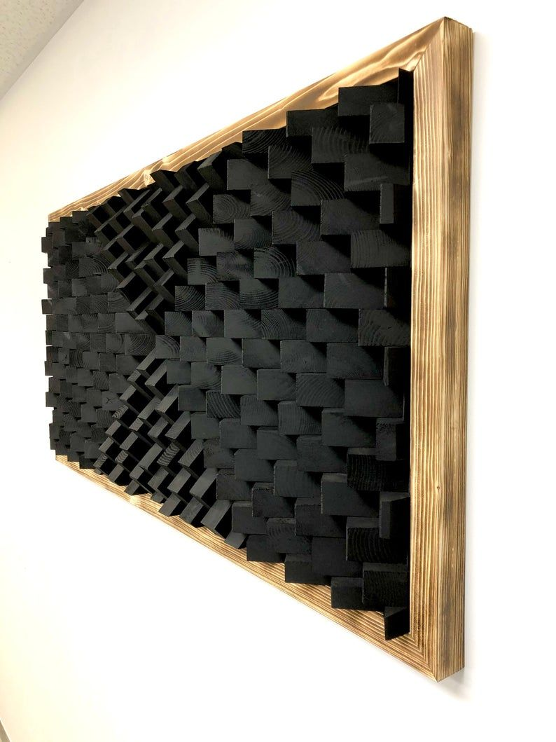 Black Sound Diffuser Acoustic Panel Wall Art Etsy Acoustic Panels Acoustic Wall Panels Wall Paneling