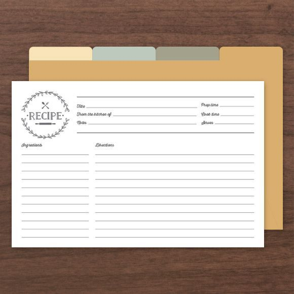 Printable  Editable Recipe Cards Comes With Front And Back Along