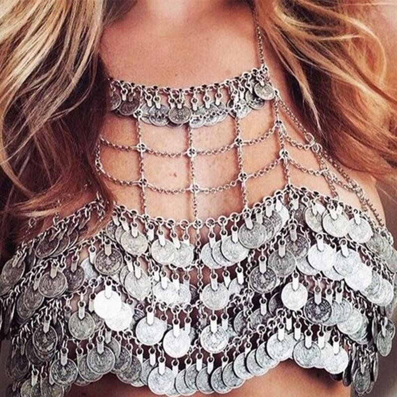 7931eef2455b2 Gypsy Coin Bra Chain Mail Metal Halter Top Gipsy Festival Bralette Vintage  Silver Tone