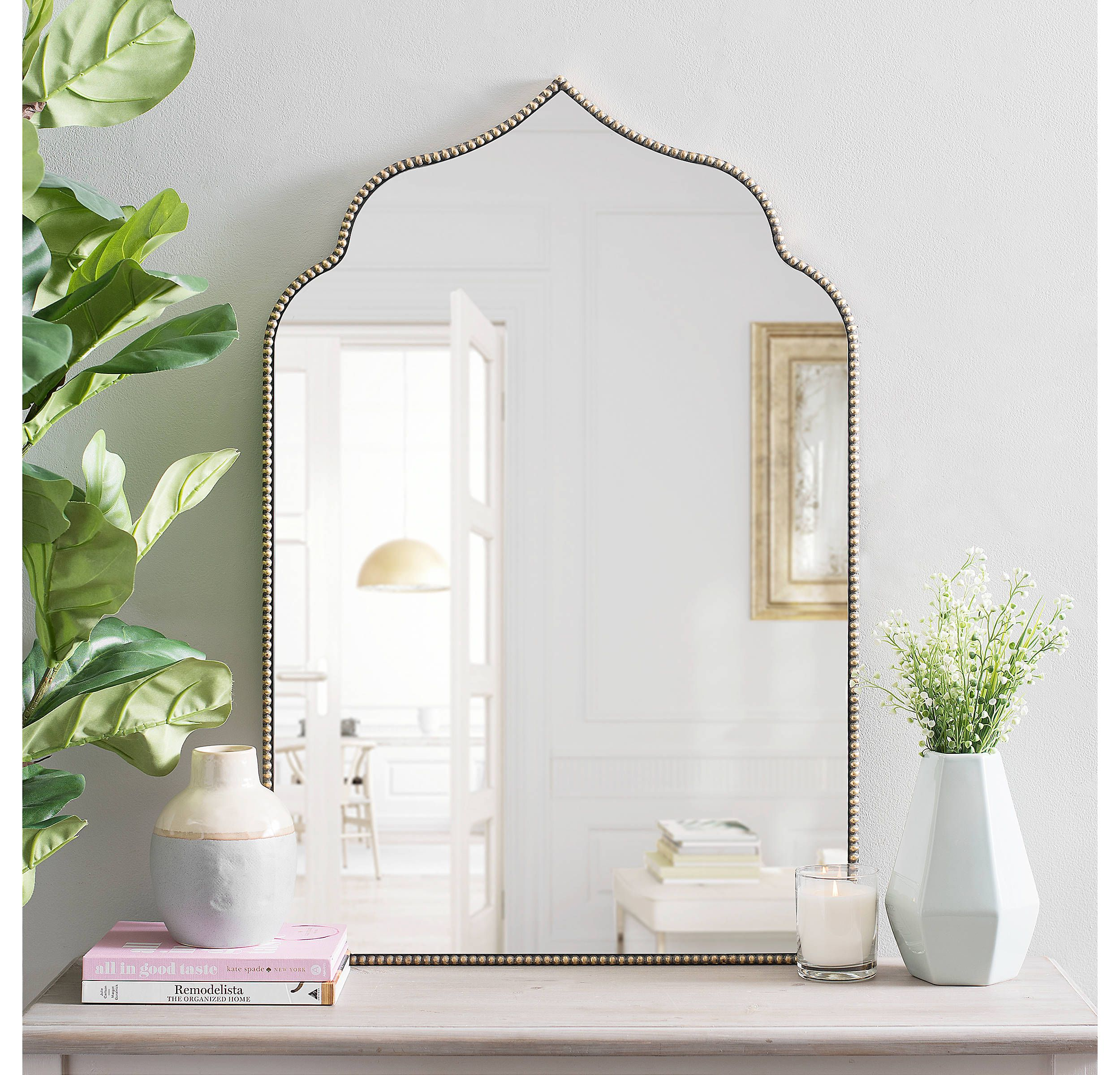 Black Bead Wood Arch Wall Mirror Wood Arch Beaded Mirror Mirror