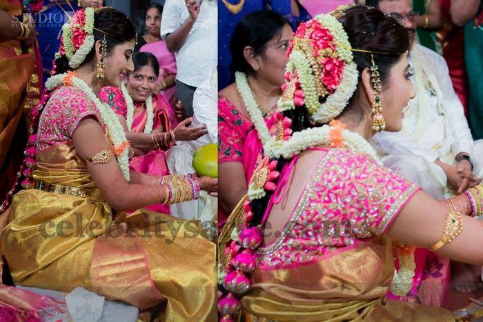 8c6ff4bb3a64c Bride in Gold Saree Pink Zardosi Blouse